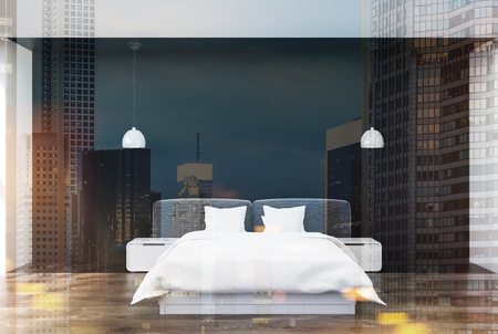 headboard: Black bedroom interior with a wooden floor, a double bed with modern bedside tables, white bedding and pillows and two ceiling lamps. 3d rendering mock up toned image double exposure