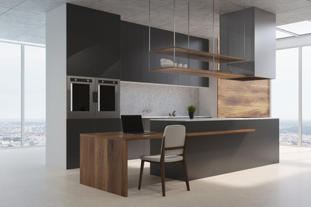Black and wooden kitchen counter standing on a concrete floor in a room with wooden and white walls and loft windows. Side view. 3d rendering mock up