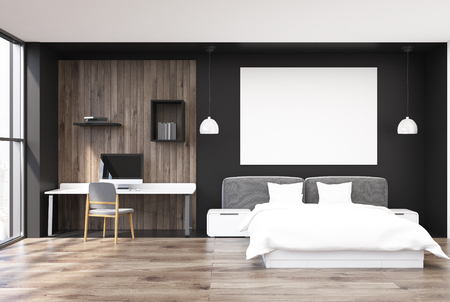 bedspread: Black and wooden bedroom interior with a wooden floor, large windows, a double bed and a home office corner with a computer and book shelves. Large poster. 3d rendering mock up