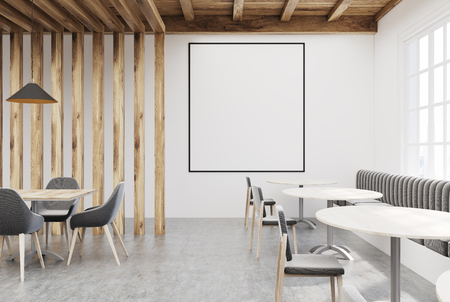 wooden and white cafe interior with a concrete floor a window round and rectangular - Concrete Cafe Interior