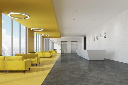 Zijaanzicht van een witte ontvangstbalie die zich in een bureau met witte en gele muren en rijen van banken dichtbij koffietafels bevindt. 3D-rendering mock up Stockfoto