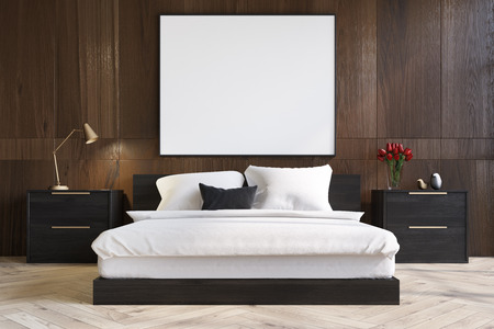 bedspread: Dark wooden bedroom interior with a wooden floor, a master bed with black bedside tables and a large horizontal poster above it. 3d rendering mock up