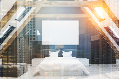 bedspread: Gray attic bedroom interior with a wooden floor, windows in the roof, a double bed with a white bedding and modern bedside tables. 3d rendering mock up toned image double exposure