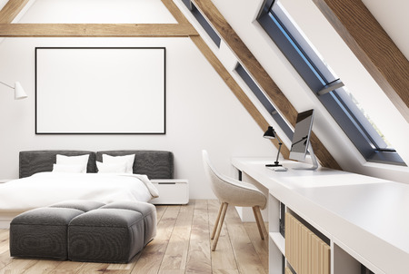bedspread: White attic bedroom interior with a wooden floor, windows in the roof, a double bed with a white bedding and modern bedside tables. Home office. 3d rendering mock up