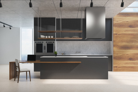 Black and wooden kitchen counter standing on a concrete floor in a room with wooden and white walls and loft windows. 3d rendering mock up