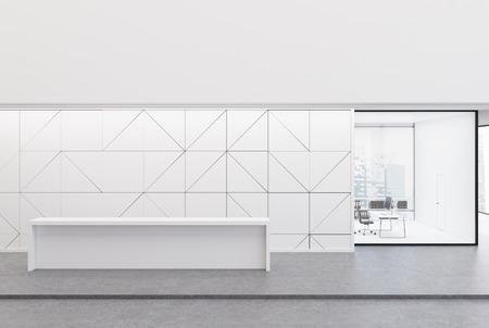흰색 리셉션 데스크는 기하학적 벽 패턴과 카운터 옆에 CEO 사무실이있는 사무실 로비에 있습니다. 3 차원 렌더링 조롱 스톡 콘텐츠