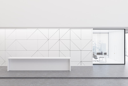 White reception desk is standing in an office lobby with a geometric wall pattern and a CEO office to the side of the counter. 3d rendering mock up