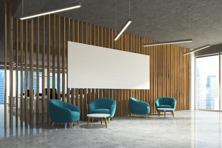 Área de espera de la oficina con una pared de madera, un piso de concreto, ventanas tipo loft, sillones azules y mesas redondas de café. Sala de espacio abierto en el fondo. Cartel, vista lateral. Representación 3D imitan para arriba