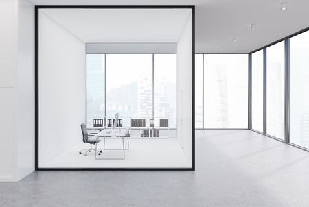 Upscale CEO office with white and glass walls in an office area with a panoramic window. 3d rendering mock up