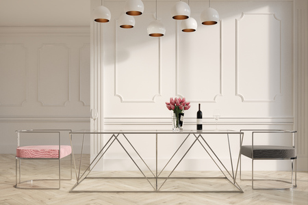 Elegant dining room interior with a wooden floor, a glass table and pink and gray chairs. A modern lamp. 3d rendering mock up