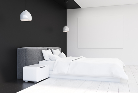 bedspread: Black and white bedroom interior with a wooden floor, a double bed with modern bedside tables, a horizontal poster on the wall and two ceiling lamps. Side view. 3d rendering mock up