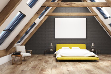 bedspread: Gray attic bedroom interior with a wooden floor, windows in the roof, a yellow double bed with a white bedding and modern bedside tables. 3d rendering mock up Stock Photo