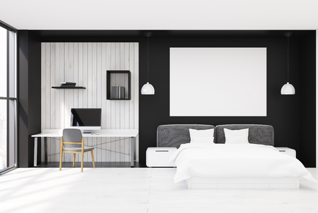 bedspread: Black and white wooden bedroom interior with a wooden floor, large windows, a double bed and a home office corner with a computer and book shelves. Large poster. 3d rendering mock up Stock Photo