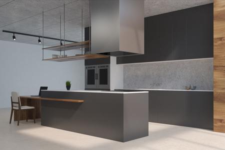 Vista Frontal De Una Cocina Blanca Y De Madera Con Muebles De Marmol