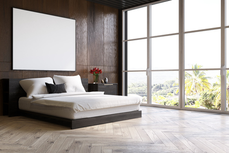 bedspread: Dark wooden bedroom interior with a wooden floor, a master bed with black bedside tables and a large horizontal poster above it. Side view. 3d rendering mock up Stock Photo