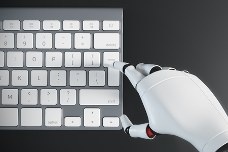 Close up of a white robot hand pressing the enter button on a computer keyboard. Top view. Black table surface. 3d rendering mock up