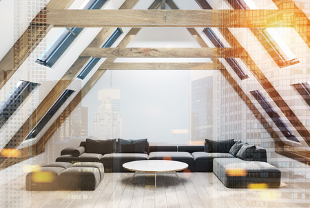 Attic living room interior with a pitched roof, white walls and a wooden floor. There is a large gray sofa and a narrow round coffee table. 3d rendering mock up toned image double exposure