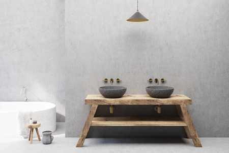 Close up of a double sink on a wooden table standing in a concrete bathroom with a white tub. 3d rendering mock up Imagens