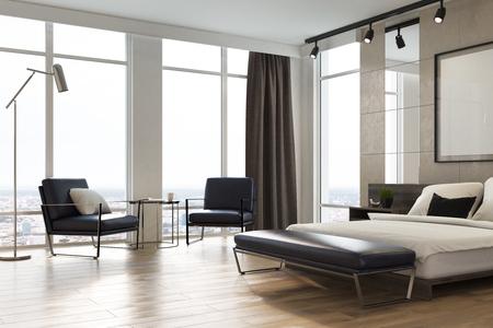 Hoek van een luxeslaapkamer met lichtgrijze en witte muren, loftramen, een houten vloer, een bed met twee fauteuils en een poster. 3D-rendering mock up