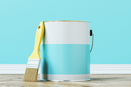 Close up of a blue paint bucket standing on a wooden floor against a blue wall with a large paintbrush near it. 3d rendering mock up