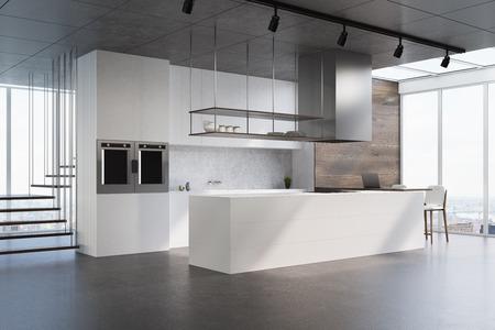 白いカウンター、コンクリート backsplash、未来的な階段、コンクリートの床と白と木製キッチンのインテリア。側面図です。3 d レンダリングをモッ