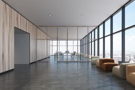고급스러운 사무실 대기실 인테리어 피사계 심도 안락의 자 프런트 로프트 windows 함께 리셉션 데스크의 앞에 서 서. 가벼운 나무 벽, 전면보기입니다. 3