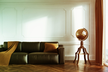 White living room interior with a black leather sofa, a brown blanket and a pillow on it and a stylized globe next to it. 3d rendering mock up toned image