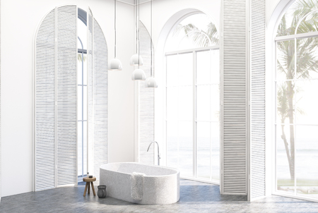 White luxury bathroom interior corner with tall windows with white shutters, a concrete floor and a white tub. 3d rendering