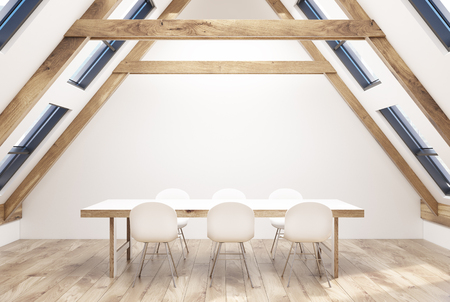Attic dining room interior with white walls, a wooden floor, a massive but elegant table and white chairs near it. 3d rendering copy space Stock Photo