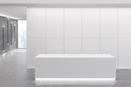 화이트 리셉션 데스크는 패널 벽과 커다란 창문이있는 사무실 로비에 있습니다. 회색 벽에 좁은 램프. 3 차원 렌더링 조롱