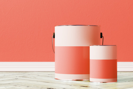 Close up of a red paint bucket standing on a wooden floor against a red wall with a smaller tin can near it. 3d rendering mock up Фото со стока