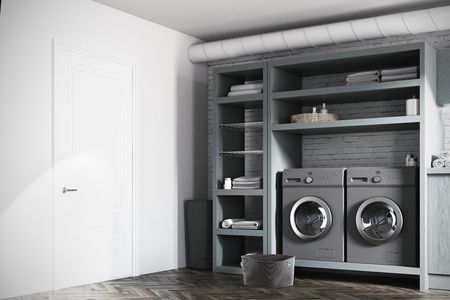 Modern Laundry Room Interior With White And Brick Walls Gray Wooden Consoles Shelves