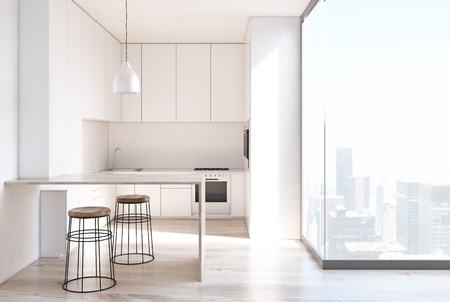 Scandinavian style kitchen interior with a white floor and walls and panoramic windows. There are two cookers, a bar stand with stools and consoles. 3d rendering mock up