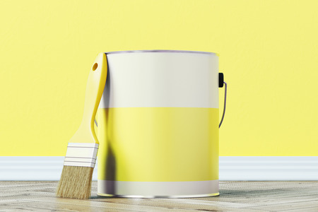 tincan: Close up of a yellow paint bucket standing on a wooden floor against a yellow wall with a large paintbrush near it. 3d rendering mock up