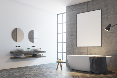Concrete bathroom interior with white and concrete walls, a loft window and a white tub with a poster hanging above it. A double sink with round mirrors. Side view. 3d rendering mock up