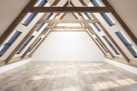Empy attic room interior with white walls, a wooden floor, a pitched roof with many windows in it. 3d rendering copy space Stock Photo