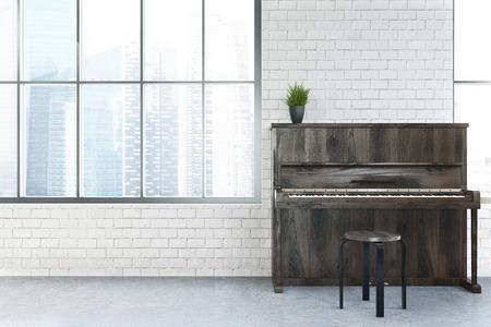 흰색 벽돌 벽, 키 큰 windows, 콘크리트 바닥 및 피아노 현대 카페 인테리어. 3 차원 렌더링 조롱