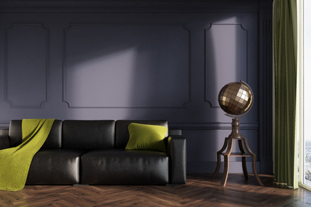 Gray living room interior with a black leather sofa, a green blanket and a pillow on it and a stylized globe next to it. 3d rendering mock up Stock Photo