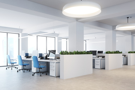 Upscale office interior with white walls, a concrete floor, rows of computer desks and flower beds. 3d rendering mock up