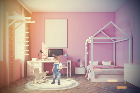Nursery With A Mountain Wallpaper, A Wooden Floor, A Double Bed ...