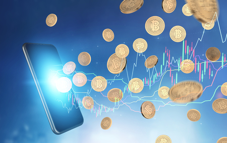 Close up of a smartphone with a glowing screen with bitcoins falling around it and a graph. A blurred blue background. Toned image double exposure