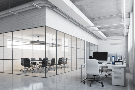 White brick conference room interior with a concrete floor, glass walls, a long table with black chairs and an open space environment. 3d rendering mock up Imagens