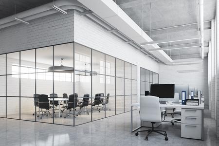 Witstenen vergaderkamerinterieur met een betonnen vloer, glazen wanden, een lange tafel met zwarte stoelen en een open space-omgeving. 3D-rendering mock up Stockfoto