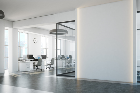 White brick open space office interior with a concrete floor, a blank wall fragment and a row of computer desks along the wall. Side view. 3d rendering mock up Imagens