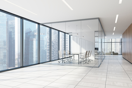 Wooden office lobby with a white wooden floor, panoramic windows, a glass conference room and several soft armchairs. Side view. 3d rendering Imagens