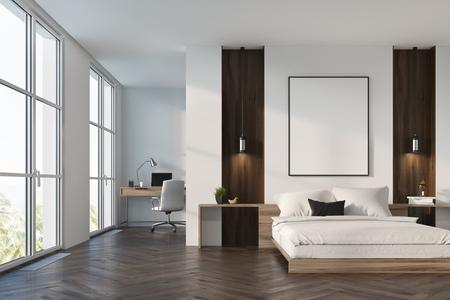 Intérieur de chambre à coucher de luxe avec des murs blancs et en bois, une affiche encadrée verticale suspendue au-dessus d'un lit double et un coin bureau à domicile. Maquette 3D Banque d'images - 88804441