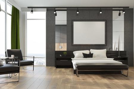Grijs slaapkamerinterieur met een tweepersoonsbed, meerdere nachtkastjes, een horizontaal ingelijste poster en grote ramen met groene gordijnen. Fauteuils. 3D-rendering mock up