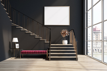 Black living room interior with a staircase, a soft red bench, a loft window and a potted tree. A horizontal poster. 3d rendering mock up Imagens