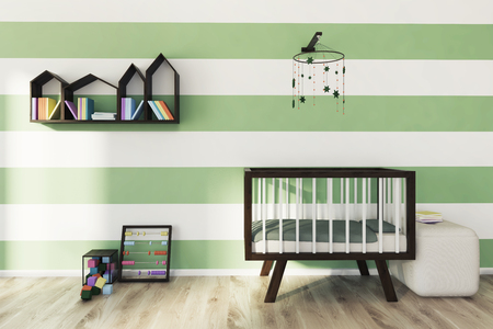Green and white striped nursery with a wooden crib, a houses shaped bookshelf, an abacus and a building blocks set. 3d rendering Reklamní fotografie