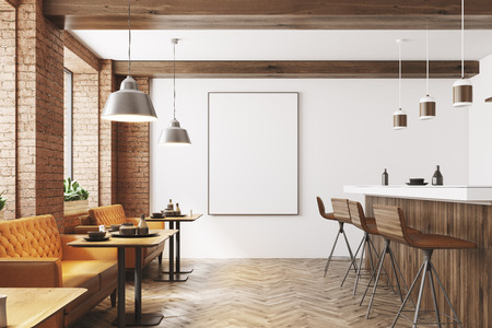 White and wooden restaurant interior with a wooden floor, loft windows, a bar stand with stools and a poster. 3d rendering mock up